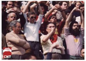 Mitin de la CNT en la Plaza de toros de San Sebastián de los Reyes en 1977