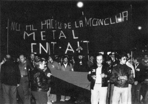 Manifestación de la CNT contra los Pactos de la Moncloa