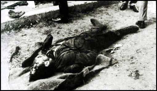 El cadáver de El Quico en una calle de Sant Celoni